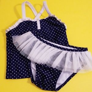 Cat & Jack Navy And White Polka Dot 2 Piece